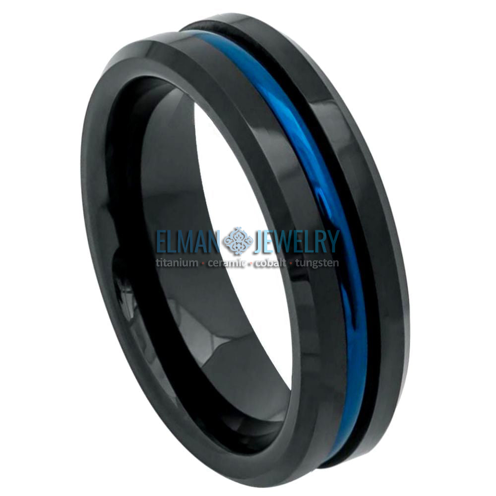 6mm Black Tungsten Wedding Ring with Blue IP Plated Grooved Center