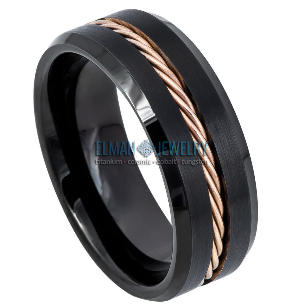 8mm Black Tungsten Ring with Rose Gold IP Plated Rope and Beveled Edge