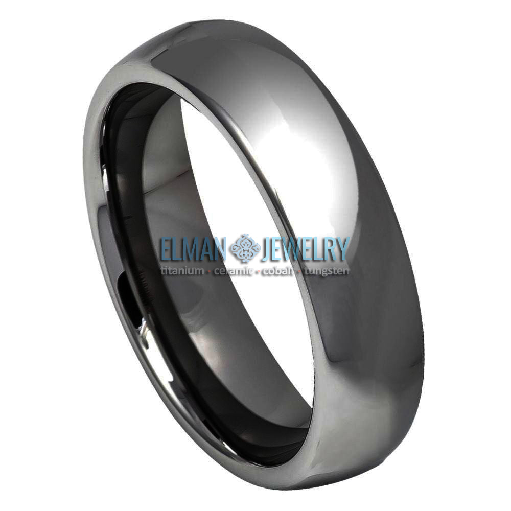 6mm Tungsten Carbide Wedding Band Gun Metal High Polished Domed Ring