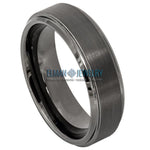 6mm Tungsten Carbide Wedding Band Ring Gun Metal Brushed Center Stepped Edge
