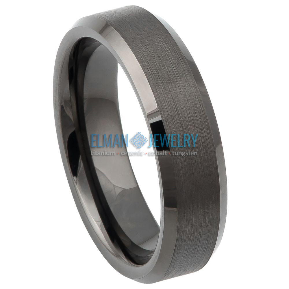 6mm Tungsten Carbide Wedding Band Ring Gun Metal Brushed Center Beveled Edge