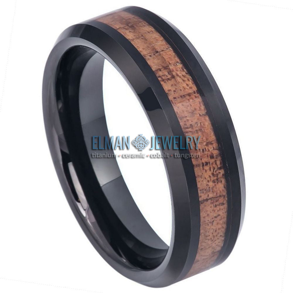 6mm Black IP Plated Tungsten Ring with Hawaiian Koa Wood Inlay