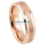 Rose Gold IP Plated Tungsten Ring Brushed Center High Polish Beveled Edge