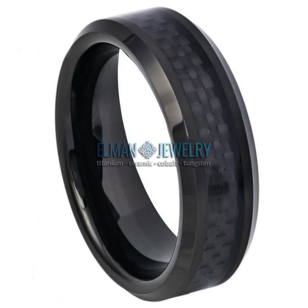 6mm Black IP Plated  Tungsten Carbide Ring with Black Carbon Fiber Inlay