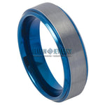 6mm Tungsten Ring Blue IP Plated Beveled Edge & Gun Metal Brushed Finish