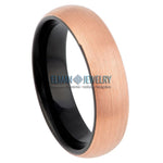 6mm Two-tone Black & Brushed Rose Gold IP Plated Domed Tungsten Carbide Ring