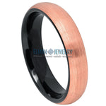4mm Two-tone Black & Brushed Rose Gold IP Plated Domed Tungsten Carbide Ring