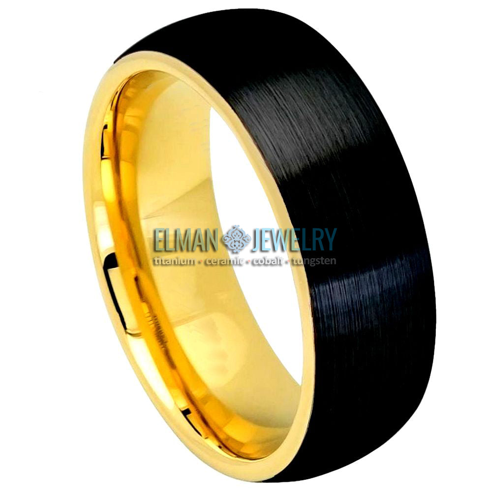 Two-tone Yellow Gold IP & Brushed Black IP Plated Domed Tungsten Carbide Ring