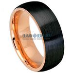 8mm Two-tone Rose Gold IP & Brushed Black IP Plated Domed Tungsten Carbide Ring