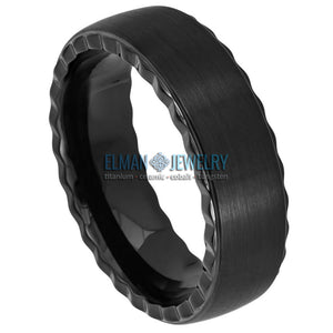 7mm Black IP Plated Tungsten Ring Brushed Center Grooved Sides