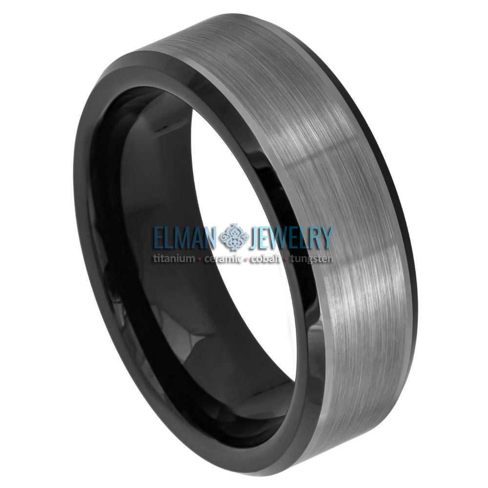 8mm Two-tone Black IP Plated Tungsten Carbide Wedding Ring Brushed Center Beveled Edge