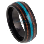 black ring, turquoise inlay