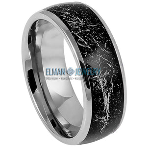 8mm Domed Tungsten Carbide Ring with Metallic Shavings on Black Carbon Fiber Inlay