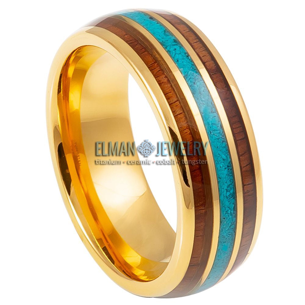 8mm Gold Plated Domed Tungsten Carbide Ring with Rosewood and Turquoise Inlays
