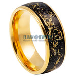 8mm Gold Plated Domed Tungsten Carbide Ring with Imitation Meteorite Inlay