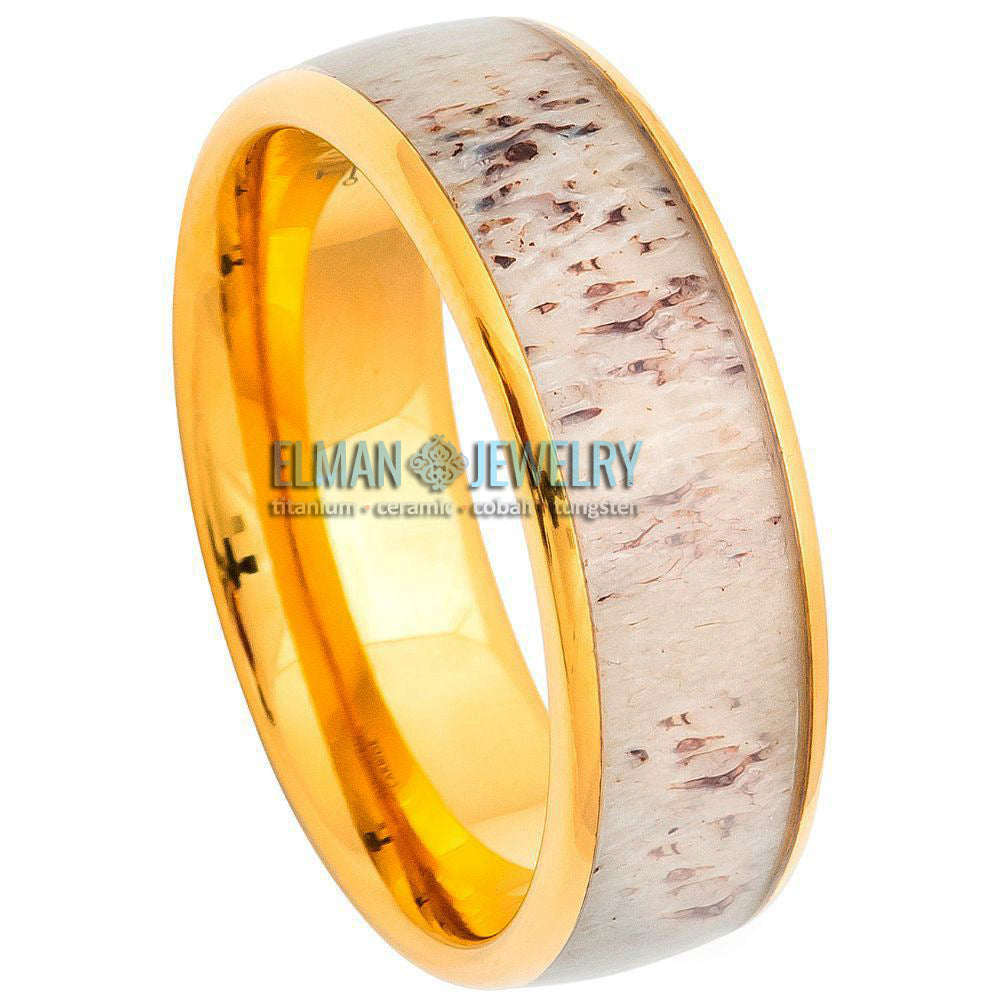 8mm Gold Plated Domed Tungsten Carbide Ring with Real Deer Antler Inlay