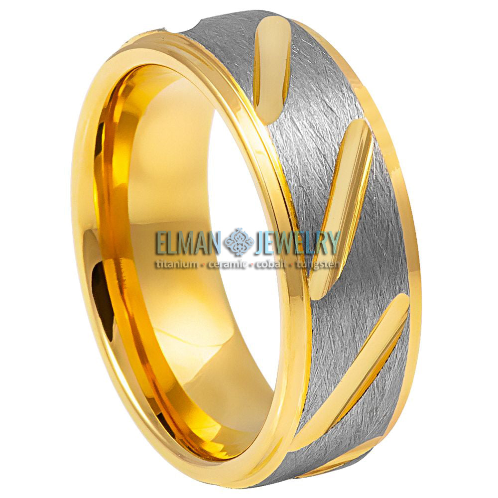 8mm Two-tone Grey & Yellow IP Plated Notched Tungsten Wedding Ring