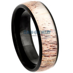 8mm Black IP Plated Domed Tungsten Carbide Ring with Real Deer Antler Inlay