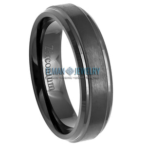 6mm Black Zirconium Ring with Brushed Center