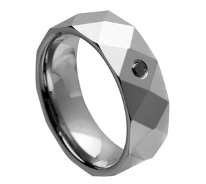 8mm Tungsten Ring with 0.07ct Black Diamond Stone Faceted Band