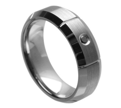 7mm Tungsten Ring with 0.07ct Black Diamond Center and Multiple Vertical Grooves