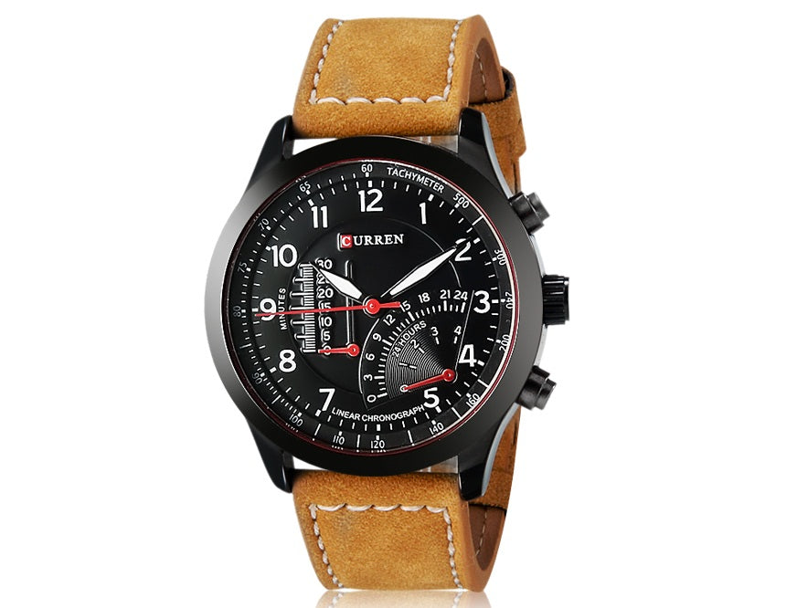 Men PU Leather Band Live Waterproof Quartz Watch CURREN 8152
