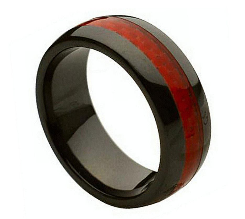 8mm Black Ceramic Ring with Red Carbon Fiber Inlay