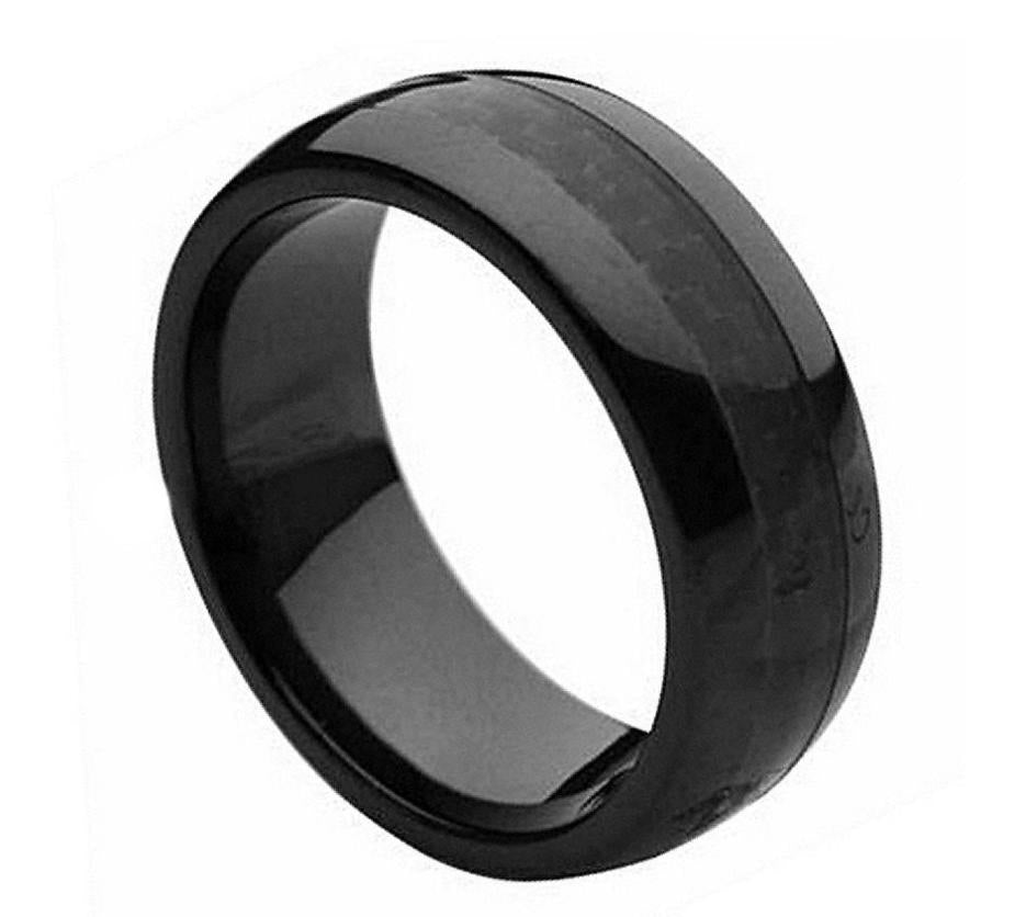 8mm Black Ceramic Ring with Black Carbon Fiber Inlay