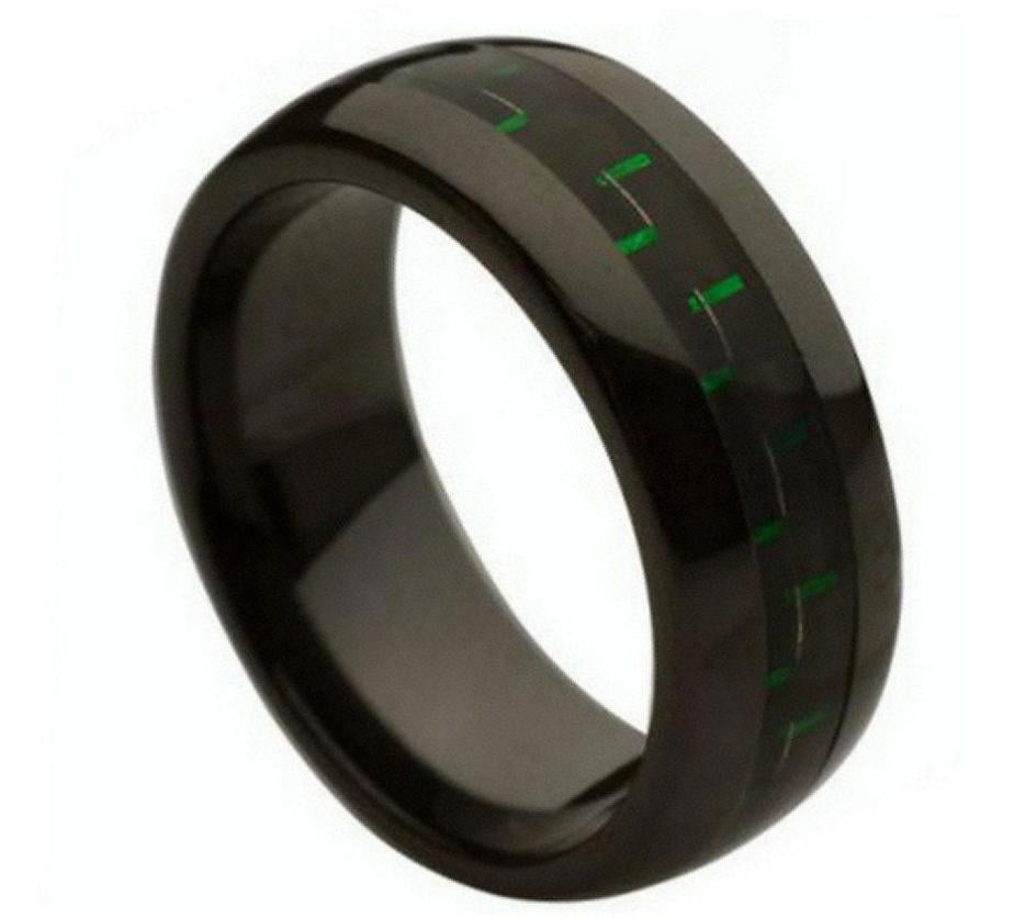 8mm Black Ceramic Ring with Green & Black Carbon Fiber Inlay