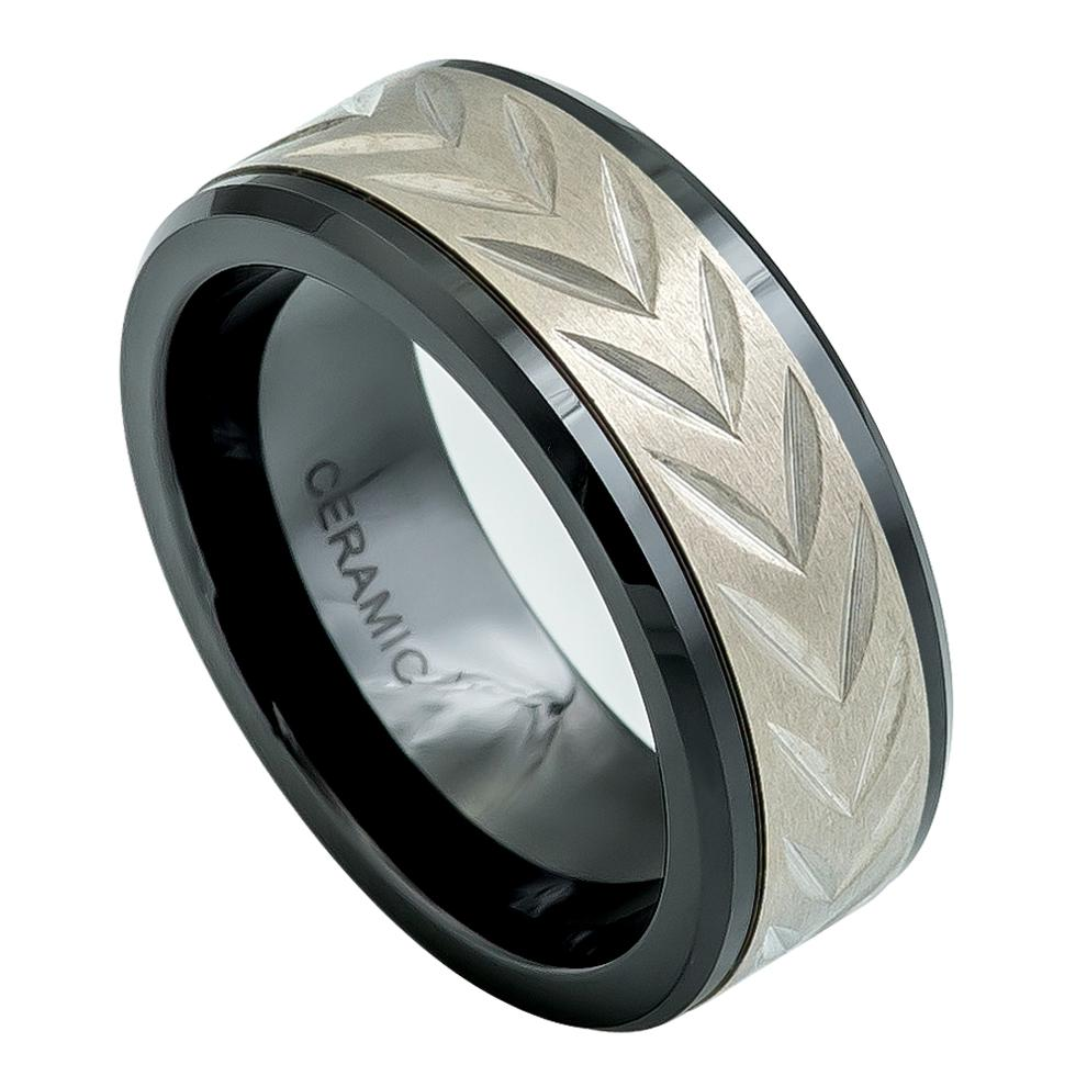 8mm Black Ceramic Ring with Carved Arrow Head design on Titanium Inlay