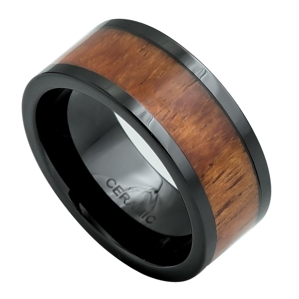 9mm Black Ceramic Band Pipe-Cut Ring with Koa Wood Inlay