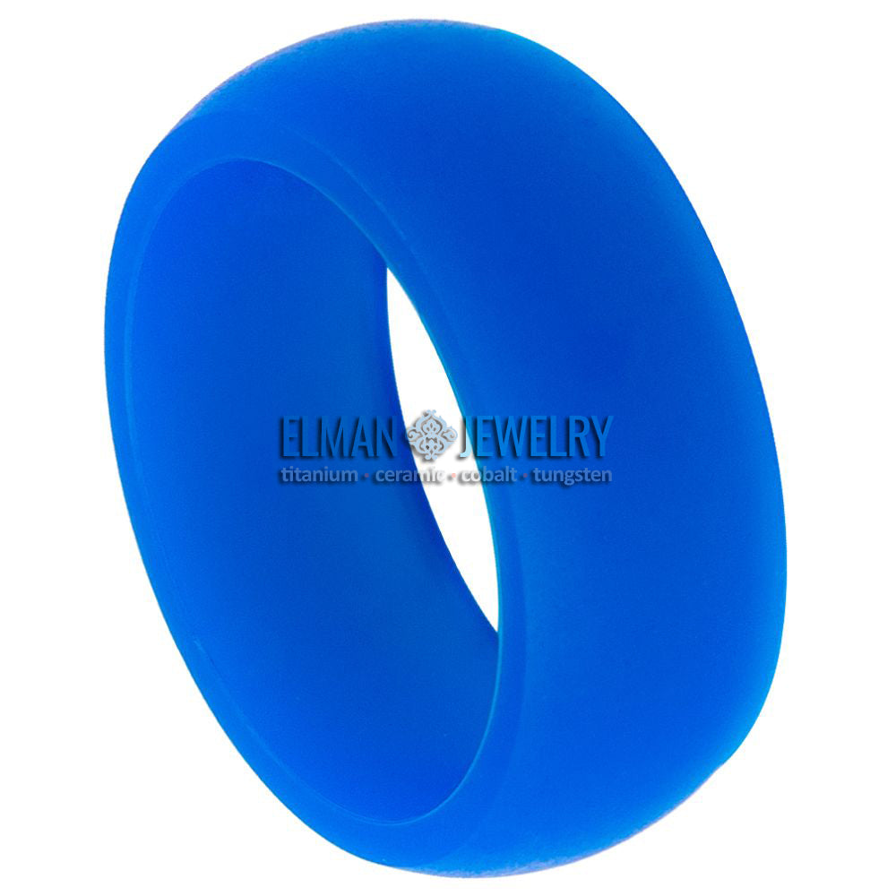 10PC Set Of 8MM Domed Blue Silicone Rings