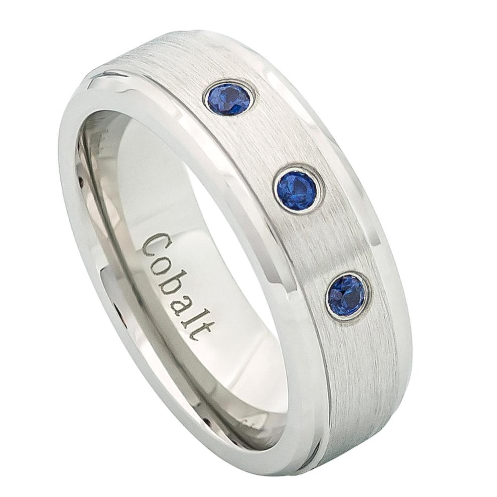 7mm Cobalt Wedding Ring with 3 Blue Sapphires Stones