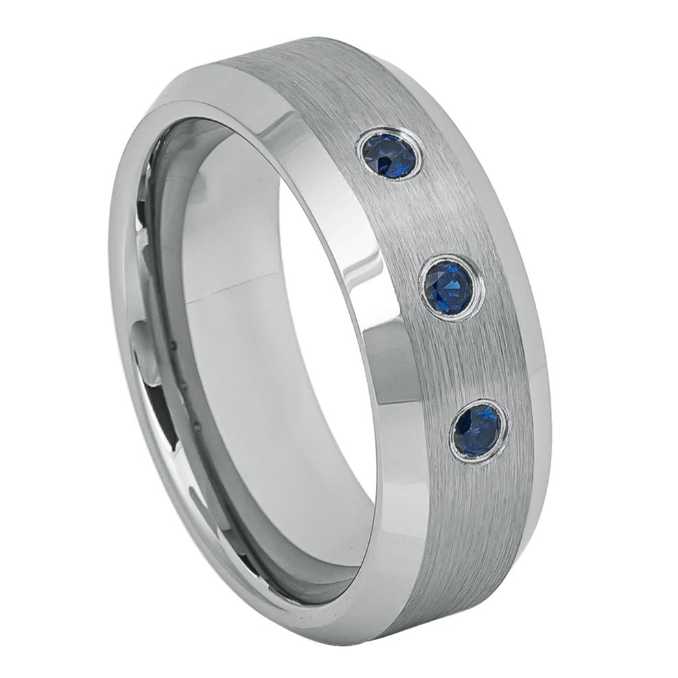 8mm Tungsten Ring with three 0.07ct Blue Sapphire