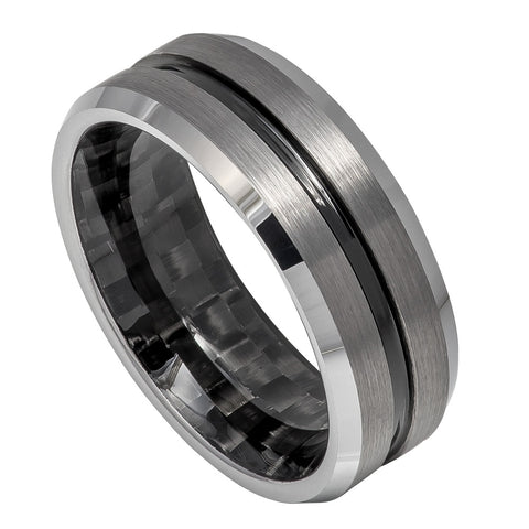 8mm Black IP Plated Tungsten Wedding Band with Grooved Center, Black Carbon Fiber Inlay Inside
