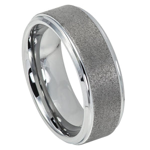 Tungsten Wedding Ring with Sandblasted Finish Center & Shiny Stepped Edge