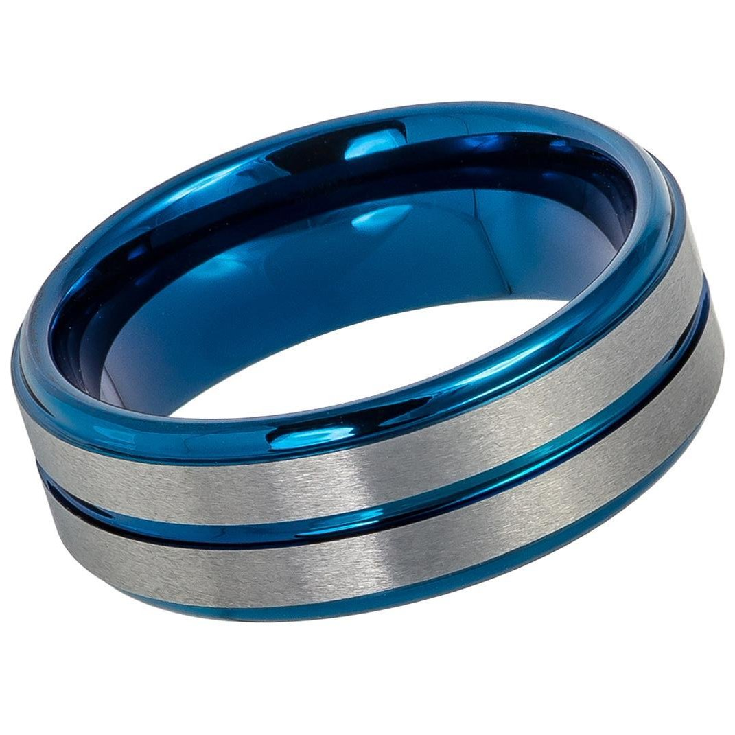 Two-tone Tungsten Wedding Ring Blue IP Grooved Center Brushed Finish