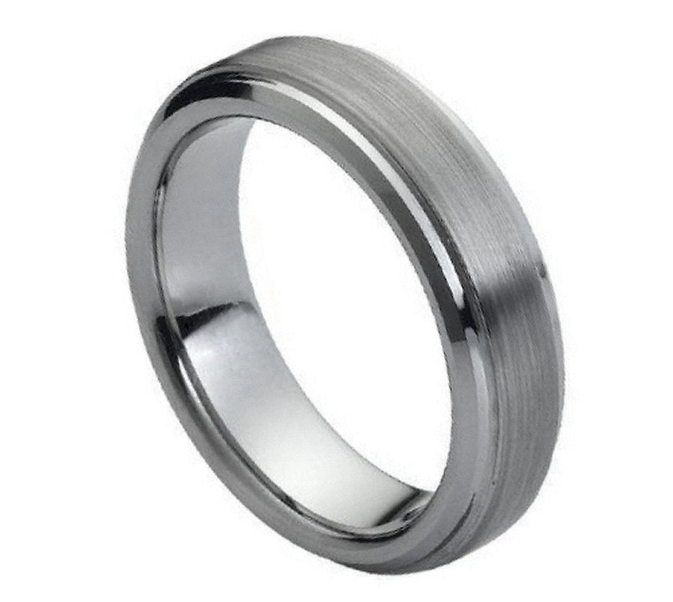 6mm Tungsten Wedding Band Flat Brushed Center Stepped Edge