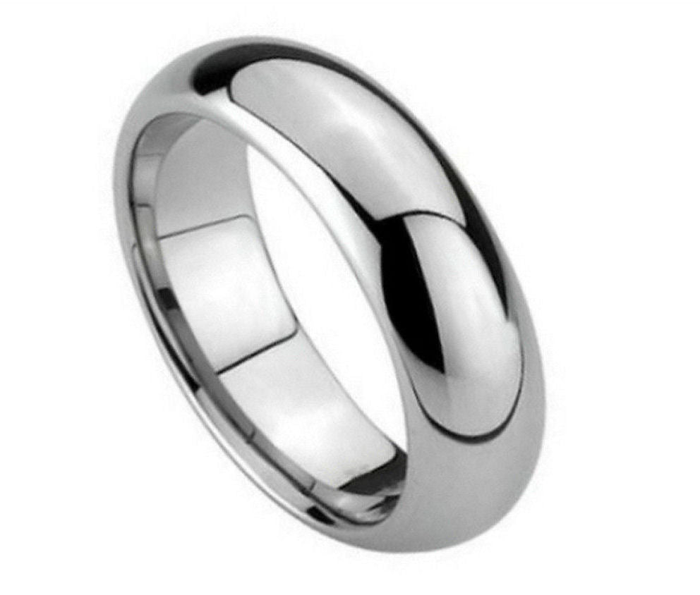 5.5mm Tungsten Wedding Band Polished Shiny Domed Ring
