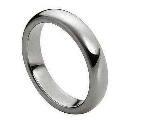 4mm Tungsten Ring Domed Classic Style Band Polished Shiny Ring