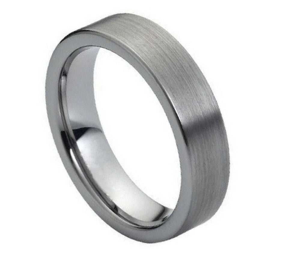 6mm Tungsten Ring Brushed Polished Flat Pipe Cut Style