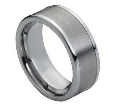 8mm Tungsten Ring Brushed with Polished Shiny Raised Edge