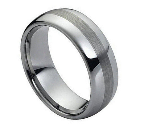 8mm Tungsten Ring Polished Shiny with Brushed Center