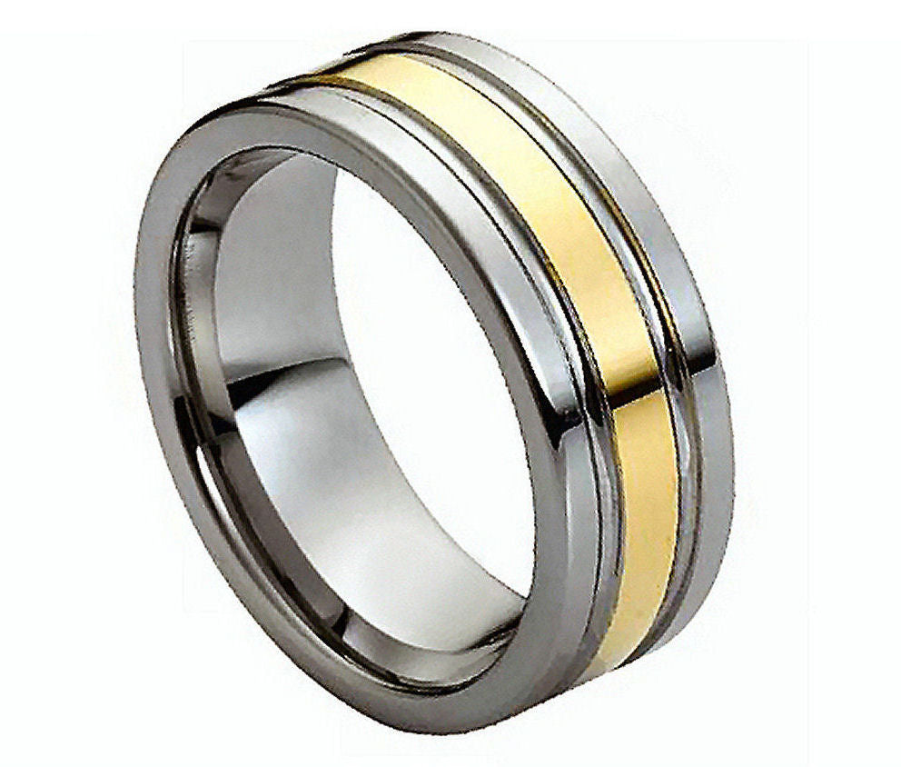 8mm Tungsten Ring Double Grooved Yellow Gold Plated Center