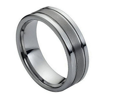 8mm Tungsten Ring Polished Shiny Double Grooved Brushed Center