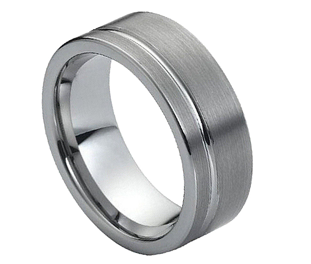8mm Tungsten Ring Brushed with Polished Shiny Off-Center Groove