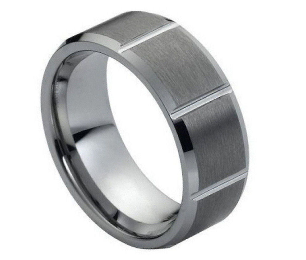 8mm Tungsten Ring Multiple Vertical Grooves Brushed Center