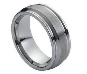 8mm Tungsten Wedding Ring Gun Metal Flat Brushed Center High Polish Ridged Edge