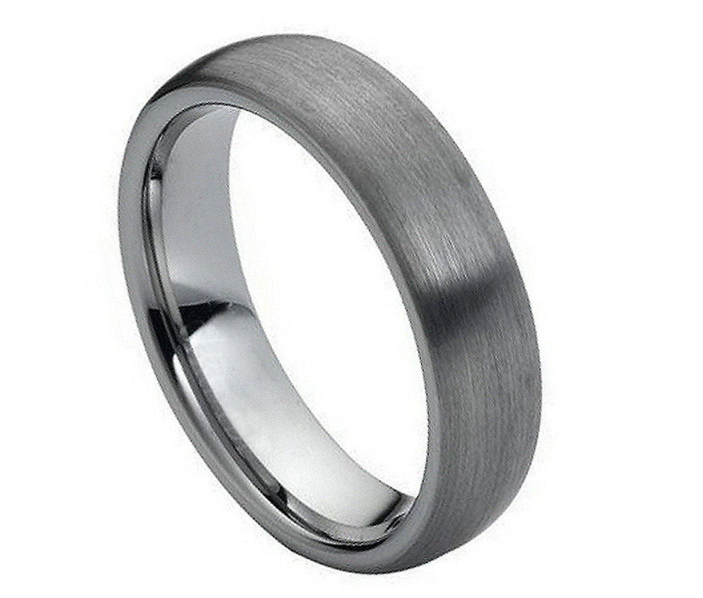 6mm Tungsten Ring Domed Classic Style Band with Brushed Center