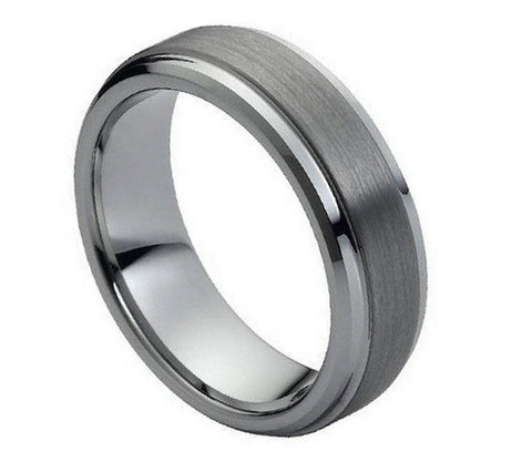 8mm Tungsten Ring Domed Classic Style Band with Brushed Center and Stepped Edge